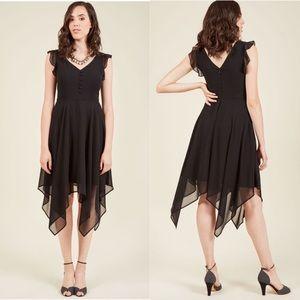 ModCloth Black chiffon handkerchief midi dress 3X